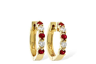 F055-75929: EARRINGS .33 RUBY .52 TGW